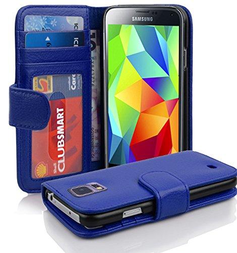 Cadorabo Hülle kompatibel mit Samsung Galaxy S5 / S5 NEO Hülle in KÖNIGS BLAU Handyhülle mit 3 Kartenfächern