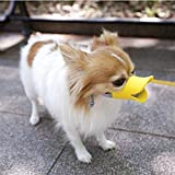 FOONEE bozal de silicona ajustable para perros, bozal para mascotas con forma de pato, máscara de silicona segura y no tóxica para evitar que las mascotas coman picaduras de gritos, amarillo