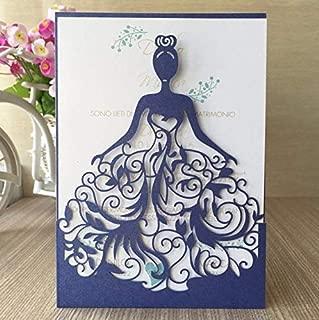 StarFashion 25PCS Laser Cut Wedding Invitations Card Hollow Bride Invitations Cards for Wedding Bridal Invitation Engagement Invitations Cards (Blue)