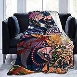 JoJo's Bizarre - Manta de aventura súper suave de franela mullida, ligera, cálida, transpirable, cómoda, para parejas y familias, color negro 60 x 50 pulgadas