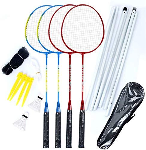 CHENMA Badminton Set Mit Netz für Sport Outdoor, 4 Schläger Super-Leichtgewicht Federballset für Camping Garten Urlaub, Badmintonschläger Set with Net…