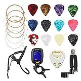 Avenda Guitar Accessories Kit, 25 in 1 Include Acoustic Guitar Strings, Picks, String