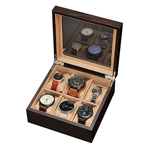 Caja de Reloj de Madera con 6 Ranuras, Organizador de Vitrina de Reloj para Hombres y Mujeres, Caja de Almacenamiento de Reloj con Tapa de Cristal Real, bisagra de Metal