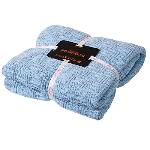 MYLUNE HOME 100% Algodón Tejer Elegante Manta de Punto Cobertura para Ver la televisión en la silleta, sofá y Cama, Las Dos Caras Cubiertas (180x200cm, Blue)