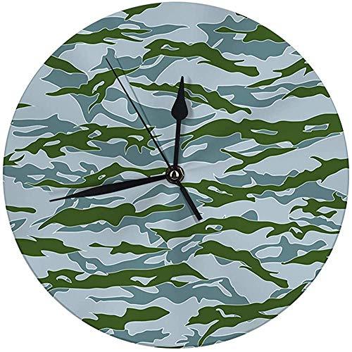 N/A Moderne decoratieve ronde wandklok Marines Tiger Stripe Camouflage Seamless Patroon batterijvoeding