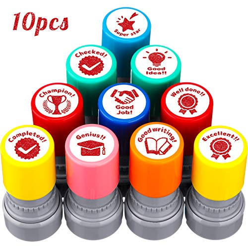 10 Pieces Teacher Stamps Encouraging Stamps Teacher Grading...