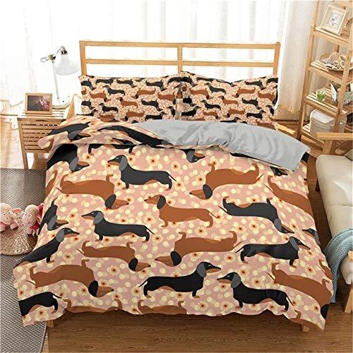 YUXO Duvet Set Bedding Sets Cartoon Dachshund Bedding Set Cute Sausage Dog Duvet Cover Set Pet Printed Comforter Sets Bed Linen Bedclothes 1014 (Color : 6, Size : UK King 220x230cm)