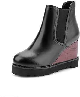 BalaMasa Womens Assorted Colors Wedges Nubuck Urethane Boots ABM13283