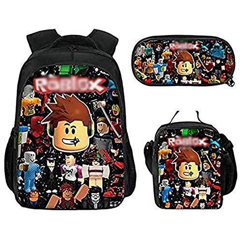R-o-b-lox - Mochila para estudiantes con caja de almuerzo y estuche, mochila para ordenador portátil para niños, niñas y adolescentes