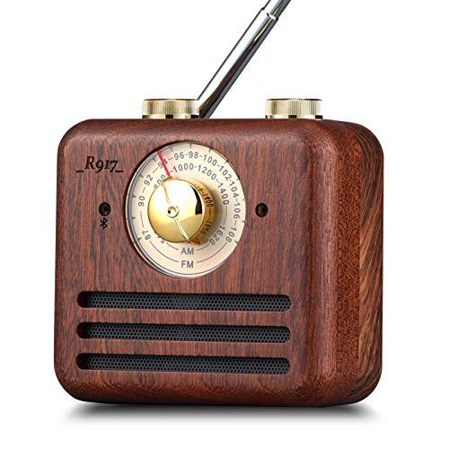 PAGARIA Portable Retro Vintage AM/FM Radio with Bluetooth & Walnut Wood Speaker