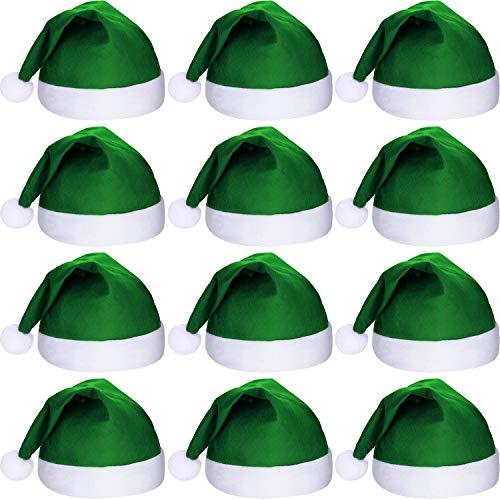 SATINIOR 12 Piezas de Sombrero de Papá Noel Gorra de Tela No Tejida de Navidad para Fiesta Navidad (Verde)