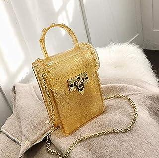 Adebie - Mini Clear Tote Bag 2019 Spring Fashion New Quality Jelly Bag Women Designer Handbag Lock Chain Shoulder Messenger Bag Phone Bag 12 X 5 X 16 cm Gold []