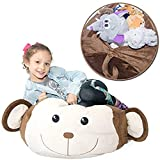 """Stuffed Animal Storage Bean Bag Chair - """"Soft 'n Snuggly"""" Comfy Cover Kids & Toddlers Prefer Over Canvas - Replace Your Mesh Stuffed Toy Hammock or Net - Store Extra Blankets & Pillows Too - Monkey"""