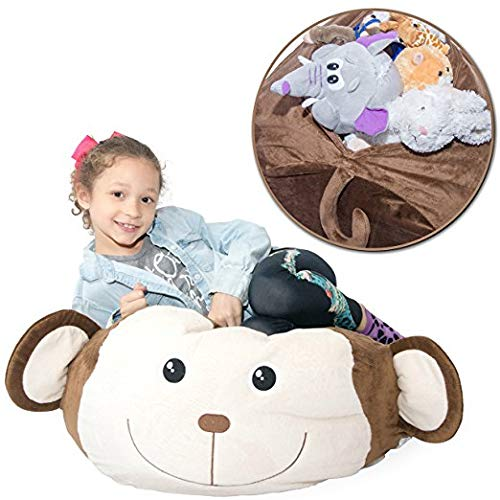 "Jumbo Stuffed Animal Storage Bean Bag [Unfilled] - ""Soft 'n Snuggly"" Comfy Fabric Kids Love - Monkey, Pig or Elephant - Replace Your Mesh Toy Hammock or Net - Store Extra Blankets & Pillows Too"