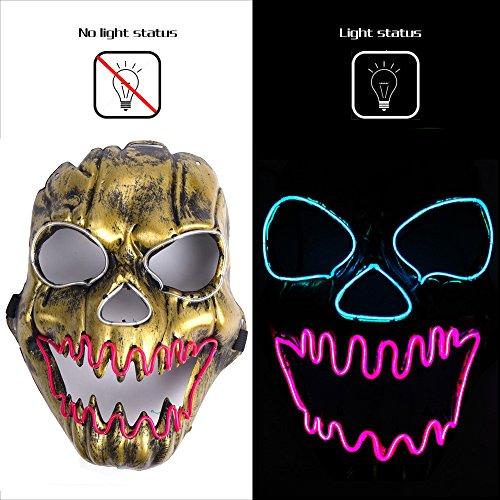 AnseeDirect Maschere Halloween Maschera Teschio Skull Mask Spaventosa Fiamma LED Glowing Mask per Halloween Party Clown DJ Costume