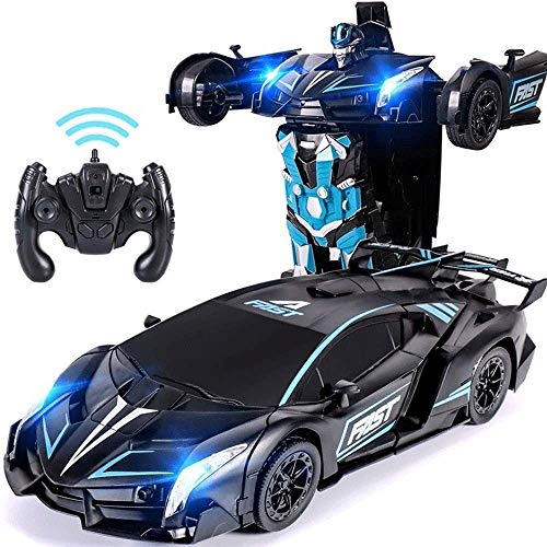 Fantastic Deal! Woote RC Stunt Child Car LED Vehicle Kids Deformation Autobots Transform Car 1:12 Model Car Remote Control 360°Rotating Robot USB Charging The Best Christmas Gift (Color : Red)