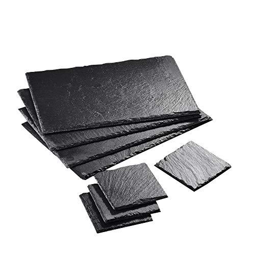 """MALACASA, Serie Nature.Slate, 8-teilig Set Schieferplatte Schieferplatten in 2 Größe Schiefer Untersetzer Käse Platte Schieferuntersetzer Buffetplatte 12""""/10 * 10 * 0,5cm & 4""""/30 * 20 * 0,5cm"""