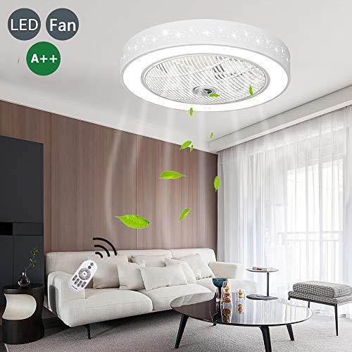 LED Ventilador De Techo Lámpara De Techo Con Iluminación Y Control Remoto Atenuación Lámpara De Silencio Ventilador Moderno Luz Invisible Adecuada Para Dormitorio Sala De Estar Habitación De Bebé