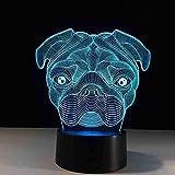 OUUED Shar Pei Dog Lámpara de 7 colores 3D Visual LED Luces nocturnas para niños Mesa táctil Usb Baby Sleep Night Light, Bonito regalo Regalo de cumpleaños