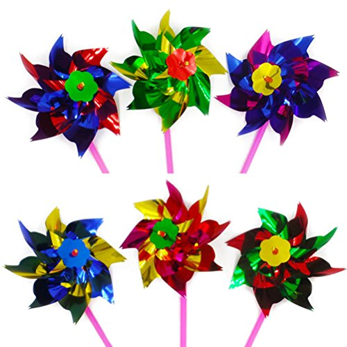 Amosfun 50pcs Classic Windmills Kids Garden Party Toy Festival Party Sypplies