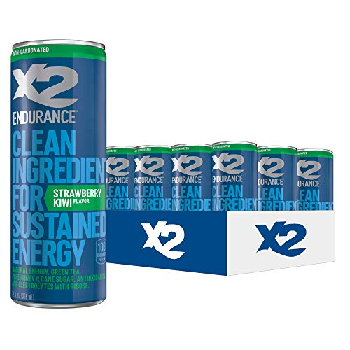 X2 ENDURANCE Strawberry Kiwi All Natural Healthy Energy Drink, Pack of 12: Great Tasting Non-Carbonated Energy Beverage with No Crash or Jitters – Less Sugar, Lower Calories - No Artificial Ingredients