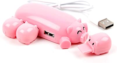 Cute Pink Mom Pig USB Hub 2.0 High Speed Extension with 3 Piglet Decoration Lids, Very Cute, Great Gift. Compatible with Laptops/Ultrabooks HP ChromeBook 14