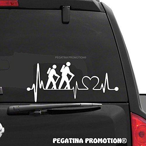Wandern Bergsteigen Bergsteiger Wanderer Herzschlag Aufkleber 30 cm Herzlinie Hobby Sticker Auto Lack Scheibe Autoaufkleber von Pegatina Promotion ®