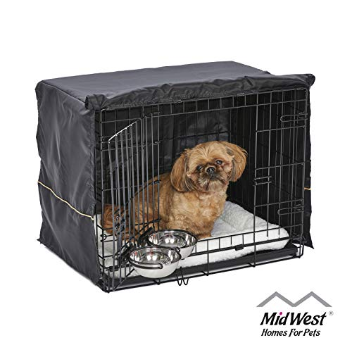 iCrate Dog Crate Starter Kit | 24-Inch Dog Crate Kit Ideal for Small Dog Breeds (weighing 13 - 25 Pounds) || Includes Dog Crate, Pet Bed, 2 Dog Bowls & Dog Crate Cover (Black) Basic Crates Dog Pet Profile Promotion Savings Supplies Top