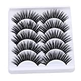 Jytrading 3D False Eyelashes, Pairs of 5, Fiber Tail Lengthening Thick Lashes Extensions for Eye Makeup