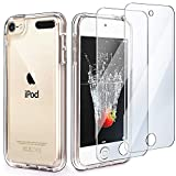 iPod Touch 7 Case Clear,IDWELL Touch 6 Touch 5 Case with 2 Screen Protectors, Clear Slim Soft TPU Bumper Hard Cover for iPod Touch 5/6/7th Generation (Latest Model,2019 Released), HD Clear