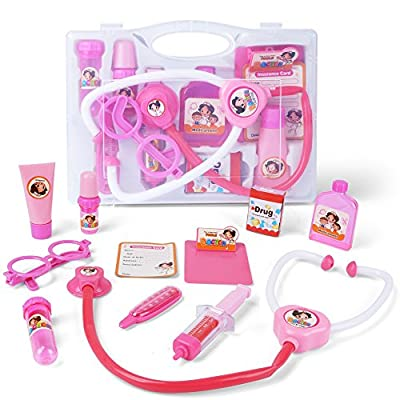 AMOSTING Doctor Kit Pretend and Play Medical Toys Set with Carry Case for Kids and girls ? 10pcs Pink