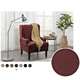 Maytex Pixel Ultra Soft Stretch Wing Back Arm Furniture Cover 1 Piece Wine Red Chair Slipcover