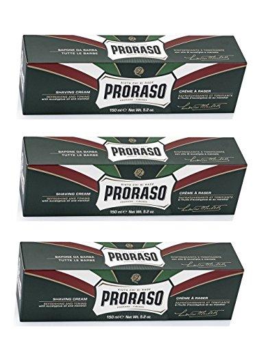 Crema de afeitar Proraso, eucalipto y mentol, 150 ml (Pack de 3)