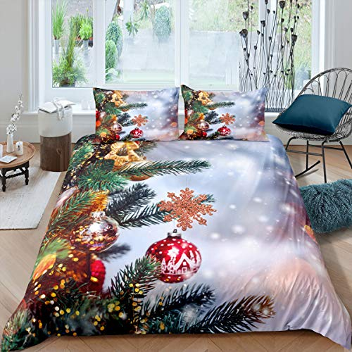 Merry Christmas Theme Bedding Set Boys Girls Santa Claus Deer Comforter Cover Kids Teens Christmas Trees Winter Xmas Theme Duvet Cover New Year Presents Home Bedroom Decor Bedding Collection, King