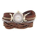 SW Watches Relojes De Pulsera Para Damas Con Diamantes Facetados Y Cuero Trenzado De Diamantes,Relojes De Pulsera De Cuarzo, Relojes De Pulsera De Moda Para Mujeres Regalos,Yellow