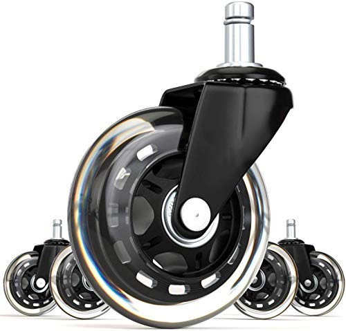 "FOH Office Rubber Chair Caster Wheels (Set of 5) Heavy Duty Casters & Safe Fit for All Floors 3"" Universal Wheel to Protect Hardwood Floors and Carpet"