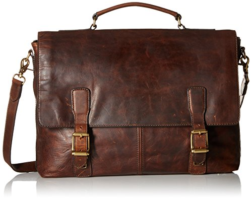 FRYE Men's Logan Top Handle Messenger Bag, Dark Brown, One Size