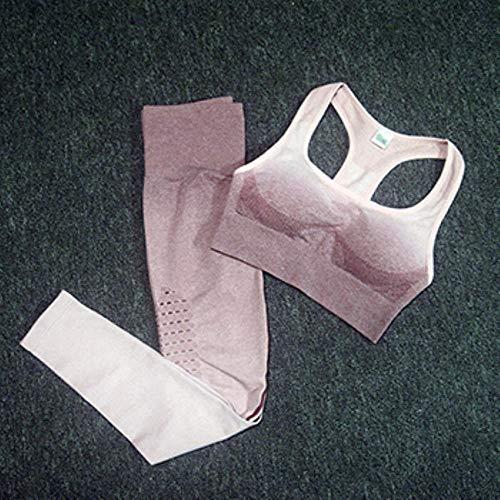 GFDHGT Conjunto de Yoga sin Costuras para Mujer Deportivo Acolchado de Fitness Push Up Gym Leggings Traje Deportivo de chándal para Mujer, Rosa Ombre, M
