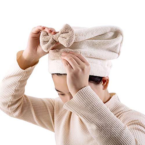 WFF sombrero Mujeres chicas secas sombrero de pelo turbante 2 piezas coral vellón seco rápido pelo turbante envoltura super absorbente gorra, tapa seca mágica rápida, tapa de baño envuelto punto sombr
