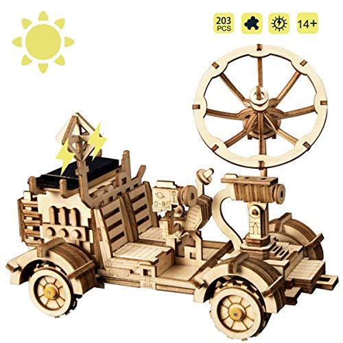 ROKR STEM Solarbetriebene Pädagogisches Spielzeug DIY Bausätze Laserschneiden Holzpuzzle Für Kinder, Jugendliche und Erwachsene (Moon Buggy)