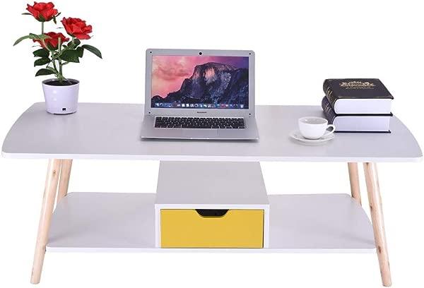 咖啡端餐桌沙发杜拉木腿办公室桌子基本家居装饰带储物架抽屉 A
