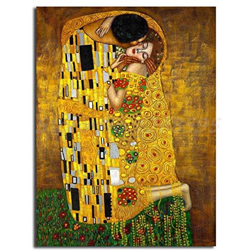 Cuadro sobre Lienzo 1 Pieza Cuadro simbólico El beso de Gustav Klimt Impresión en Lienzo Imagen Estiramiento y marco Decoración hogareña Mural regalo dormitorio sala Listo para colgar 50x70cm