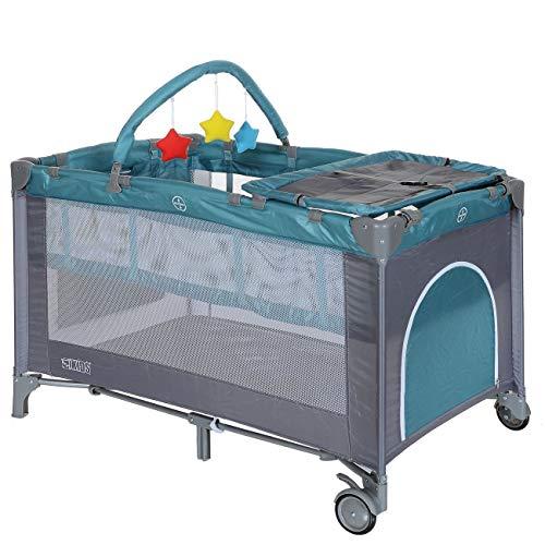 LCP Kids Baby-Reisebett 120x60 klappbar mit Neugeborenen Einlage Wickelauflage in Grün