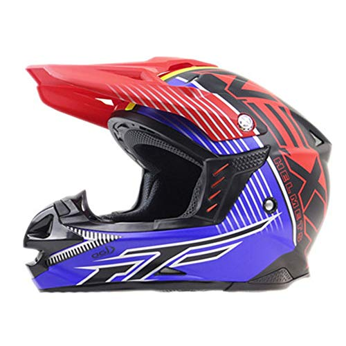 FAGavin Full Face Motocross Helmet Road Off-road Racing Helmet Professional Motorcycle Off-road Helmet Downhill Safety Racing Helmet - Red Blue - Large (Size : XL)