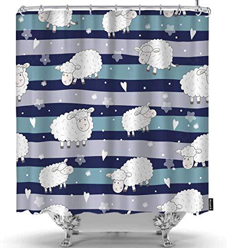 Schaf Duschvorhang Lustige Schafe Verschiedene Formen Weiß Blumendekoration Grün Schwarz Grau Duschvorhänge Home Dekorative wasserdichte Polyester Stoff mit Haken Zoll