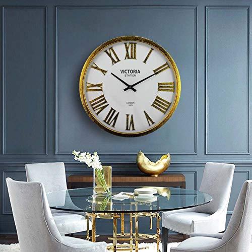 Wstomys Mesa De Reloj De Hierro Minimalista Moderna Sala De Estar Reloj De Pared Retro Reloj De Pared Creativo Número Romano 58 * 58 * 6.5 Cm (Amarillo)