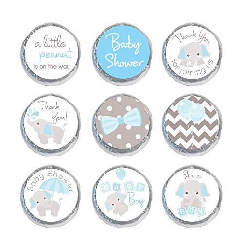 324 Mini Candy Stickers Boy Baby Shower Favors Tiny 0.75 Inch Elephant Labels (Light Blue)
