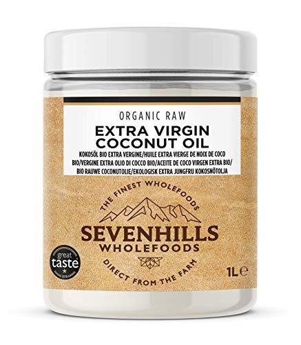 Sevenhills Wholefoods Crudo Vergine Extra Olio Di Cocco Bio, Spremuto A Freddo (1L vasca plastica)