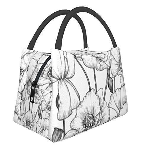 Bolsa de almuerzo portátil con aislamiento Cool (Pattern Black White Poppies) 8.5L