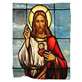 Swono Jesus Throw Blanket,Stained Glass Window Depicting Sacred Heart of Jesus Christ Thorw Blanket Soft Warm Decorative Blanket for Bed Couch Sofa Office Blanket 40'X50'